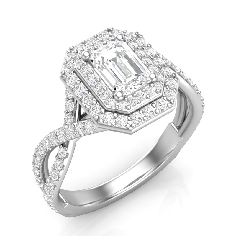 JCX391377: Double Halo Emerald Cut Engagement Ring