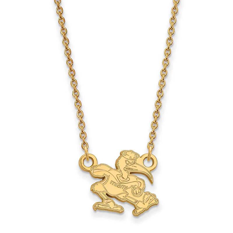 JCX358602: 14ky University of Miami Small Pendant w/Necklace