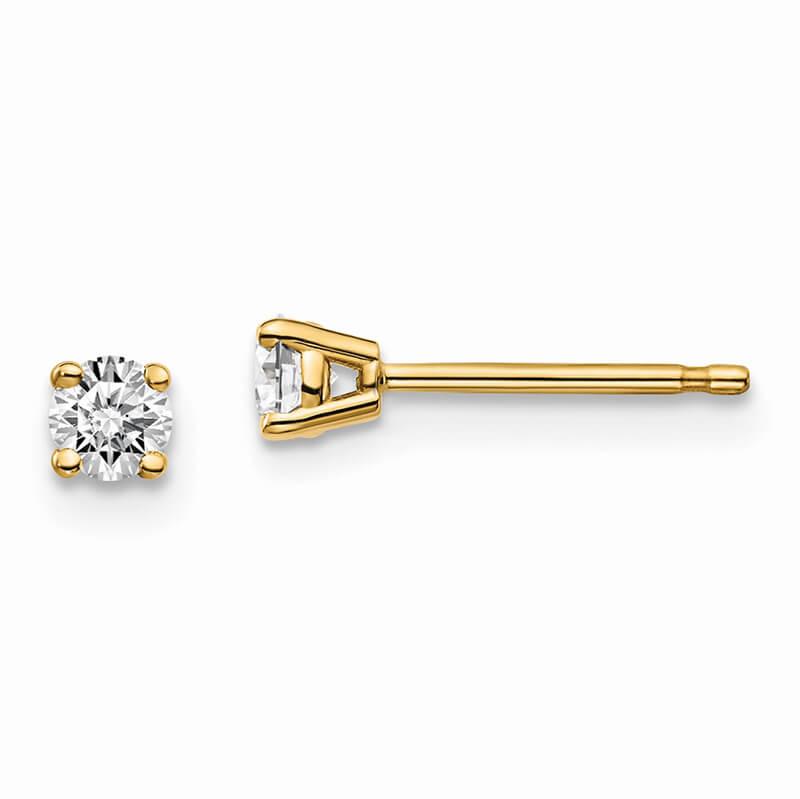 14ky 1/5ctw VS/SI; D E F; Lab Grown Diamond 4-Prg Earring