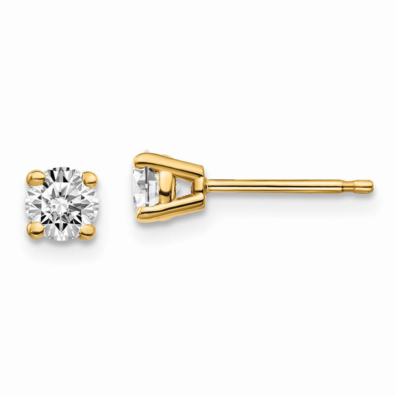 14ky 1/2ctw Certified SI1/SI2; G H I; Lab Grown Diamond 4-Prg Earring