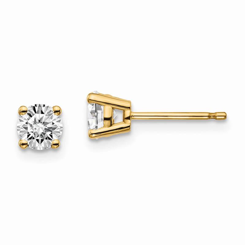 14ky 2/3ctw Certified VS/SI; D E F; Lab Grown Diamond 4-Prg Earring