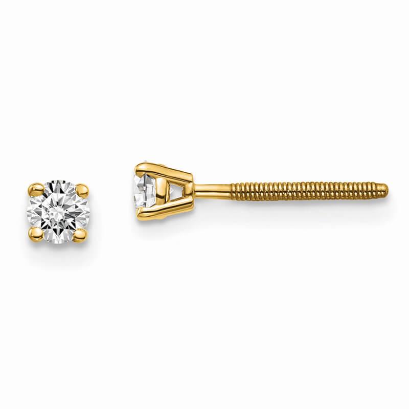 14ky 1/5ctw SI1/SI2; G H I; Lab Grown Diamond Screw Back Earring