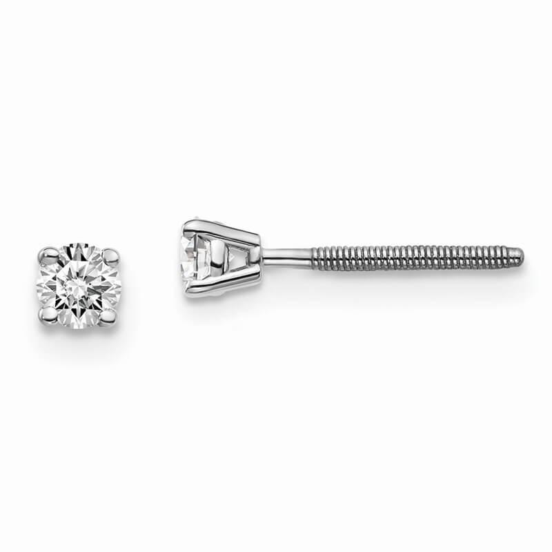 14kw 1/5ctw Cert. VS/SI; D E F; Lab Grown Diamond Screw Back Earring