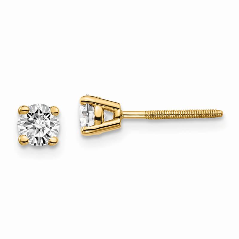 14ky 1/2ctw Cert. SI1/SI2; G H I; Lab Grown Diamond Screw Back Earring