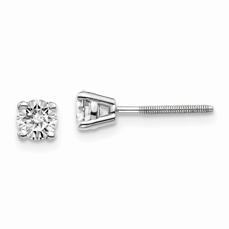 14kw 1/2ctw Cert. VS/SI; D E F; Lab Grown Diamond Screw Back Earring