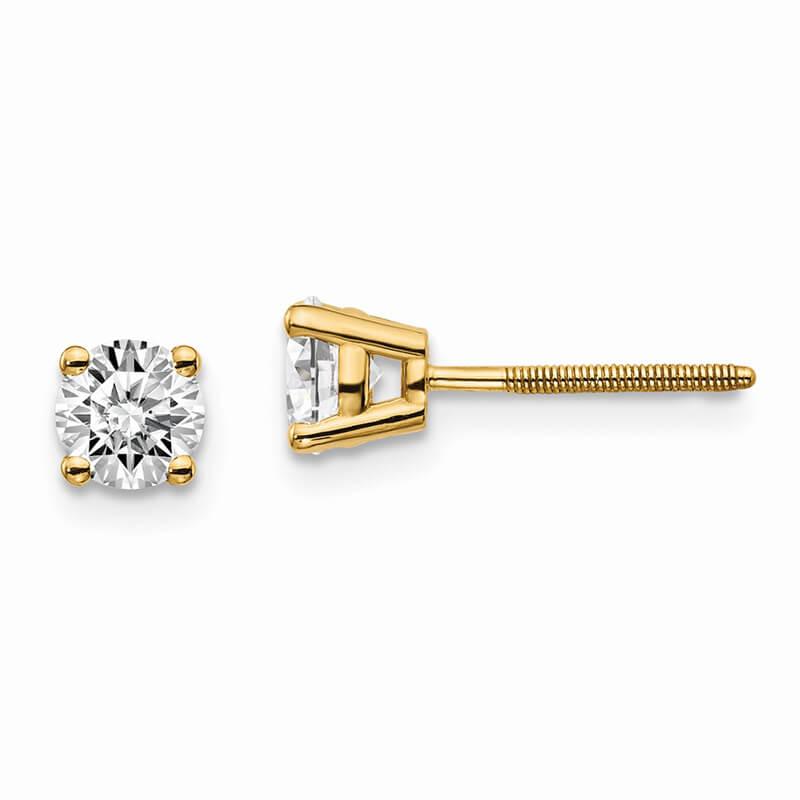 14ky 2/3ctw SI1/SI2; G H I; Lab Grown Diamond Screw Back Earring