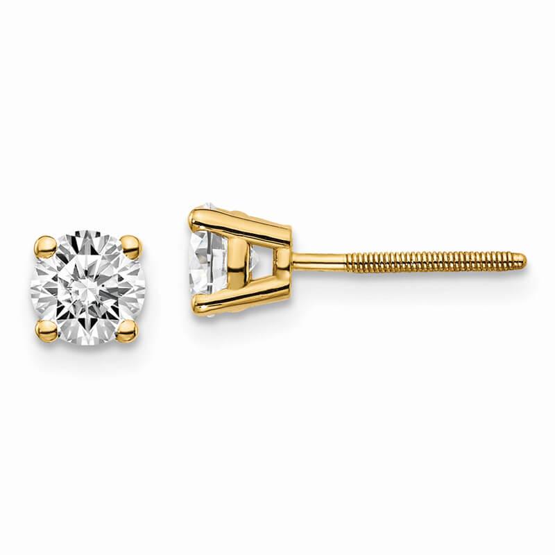 14ky 3/4ctw VS/SI; D E F; Lab Grown Diamond Screw Back Earring