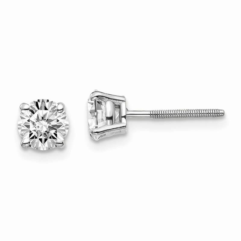 14kw 1ctw SI1/SI2; G H I; Lab Grown Diamond Screw Back Earring