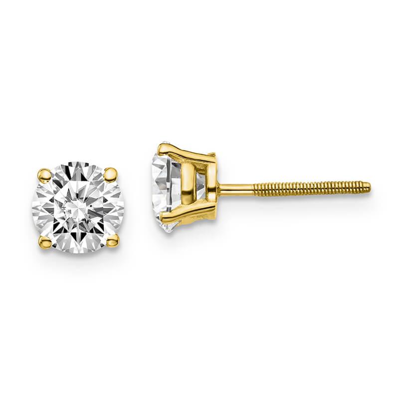 14ky 1 1/2ctw Cert. SI1/SI2; G H I; Lab Grown Diamond Screw Back Earring