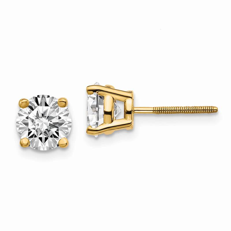 14ky 2ctw SI1/SI2; G H I; Lab Grown Diamond Screw Back Earring