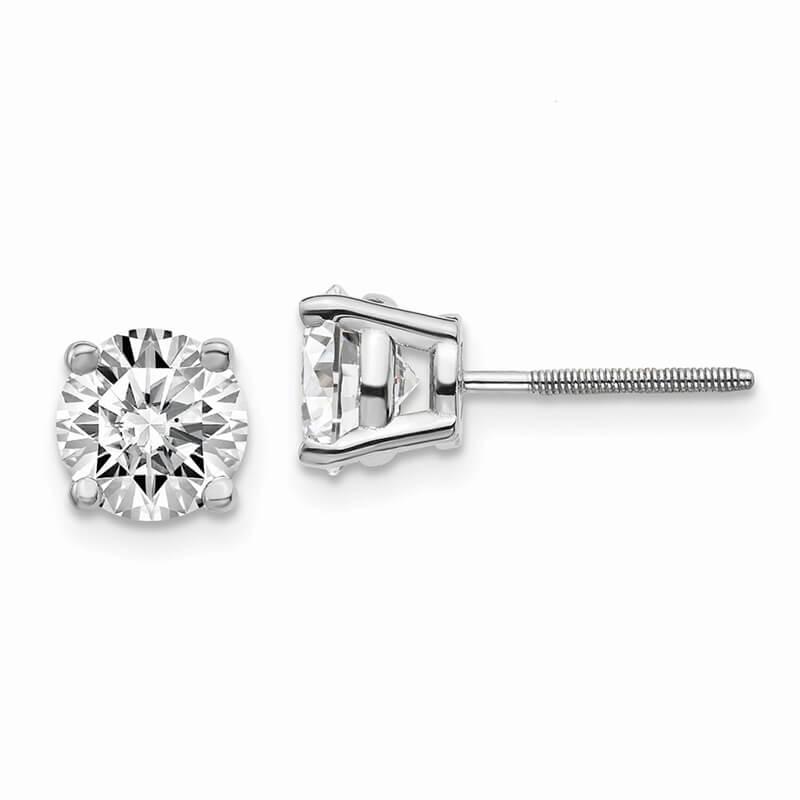 14kw 2ctw Cert. SI1/SI2; G H I; Lab Grown Diamond Screw Back Earring