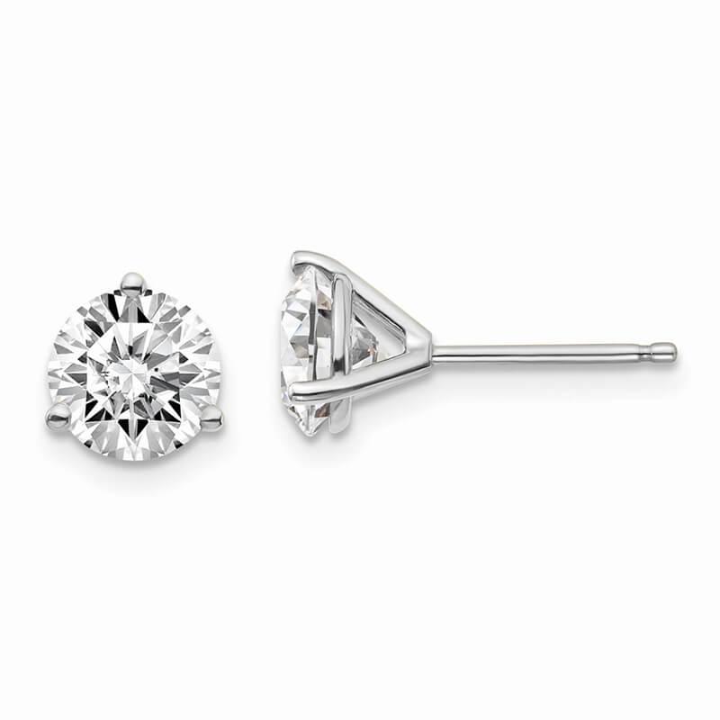 JCX1073: 14kw 1 1/2ctw SI1/SI2; G H I; Lab Grown Diamond 3 Prg Earring