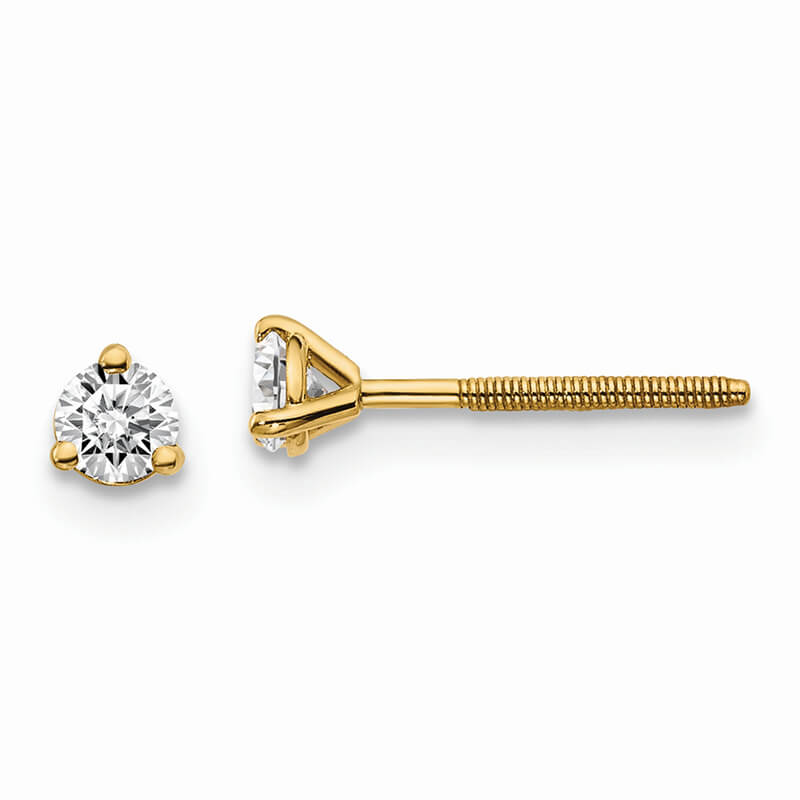 14ky 1/5ctw VS/SI; D E F; Lab Grown Diamond 3 Prg Screwbk Earring