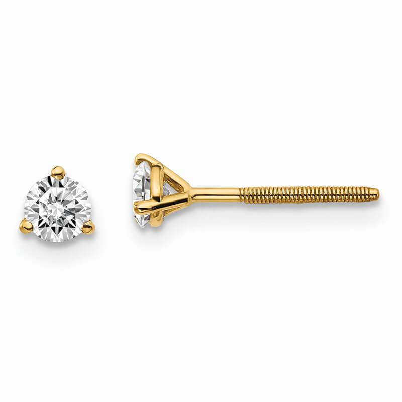 14ky 1/3ctw VS/SI; D E F; Lab Grown Diamond 3 Prg Screwbk Earring