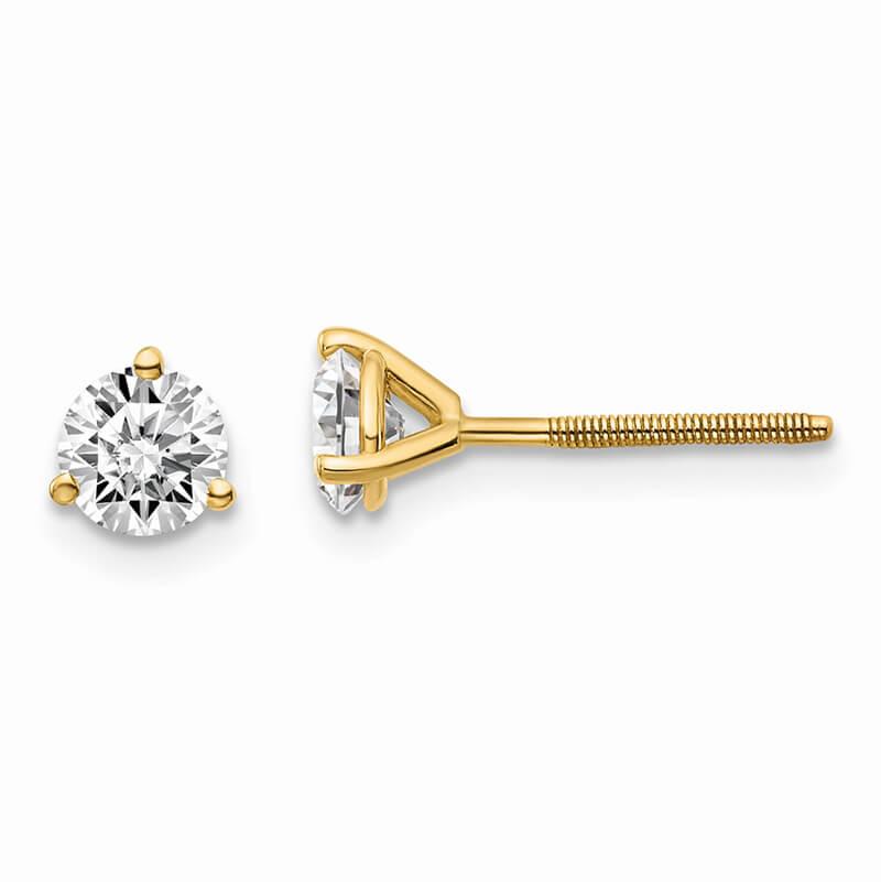 14ky 3/4ctw VS/SI; D E F; Lab Grown Diamond 3 Prg Screwbk Earring