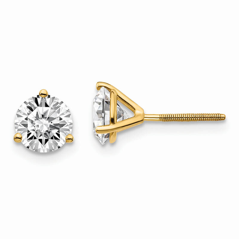 14ky 1 1/2ctw SI1/SI2; G H I; Lab Grown Diamond 3 Prg Screwbk Earring