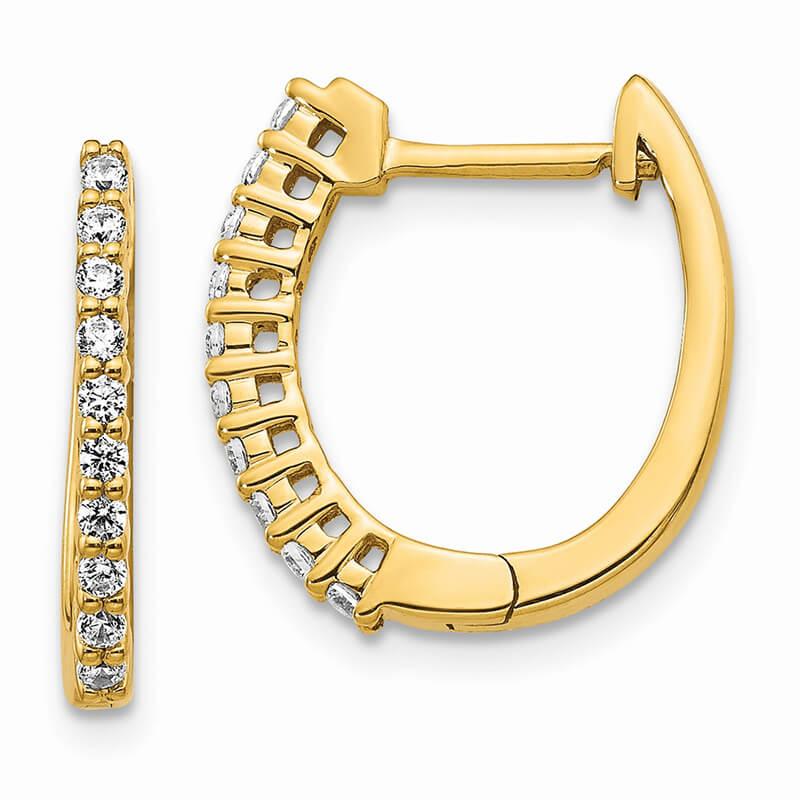 14ky Lab Grown Diamond SI1/SI2; G H I; Hinged Hoop Earrings