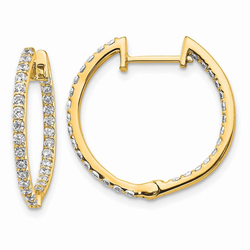 14ky Lab Grown Diamond SI1/SI2; G H I; In & Out Hinged Hoop Earrings