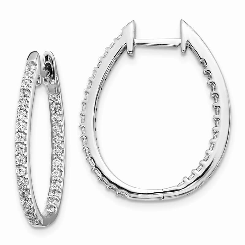 14kw Inside/Out Lab Grown Diamond SI1/SI2; G H I; Hinged Hoop Earrings