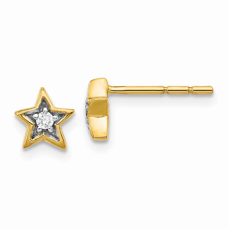 14K Gold Lab Grown Diamond SI1/SI2; G H I; Star Post Earrings