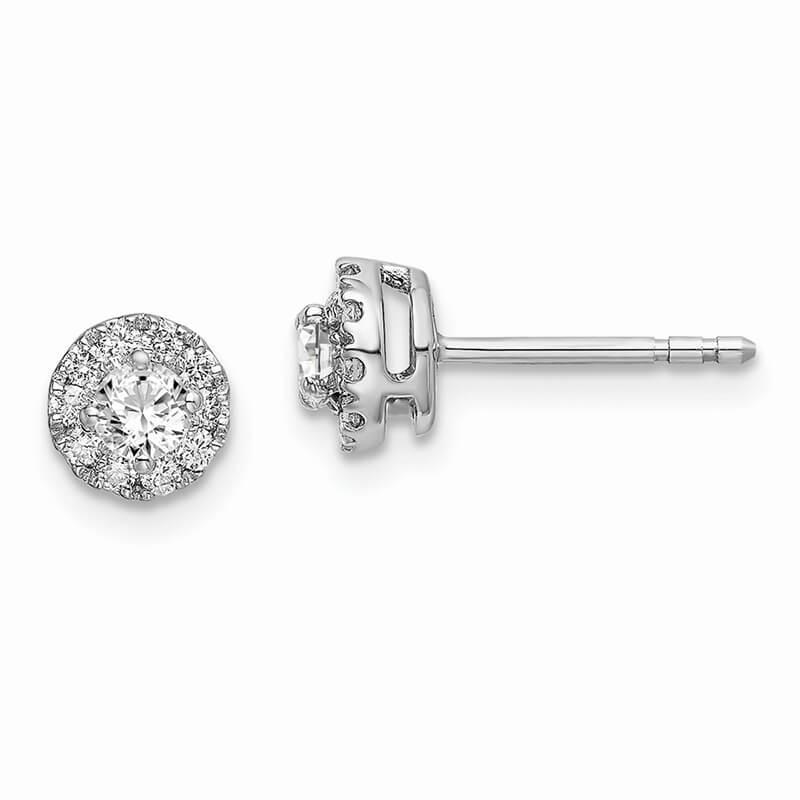 14kw Lab Grown Diamond SI1/SI2; G H I; Round Halo Earrings