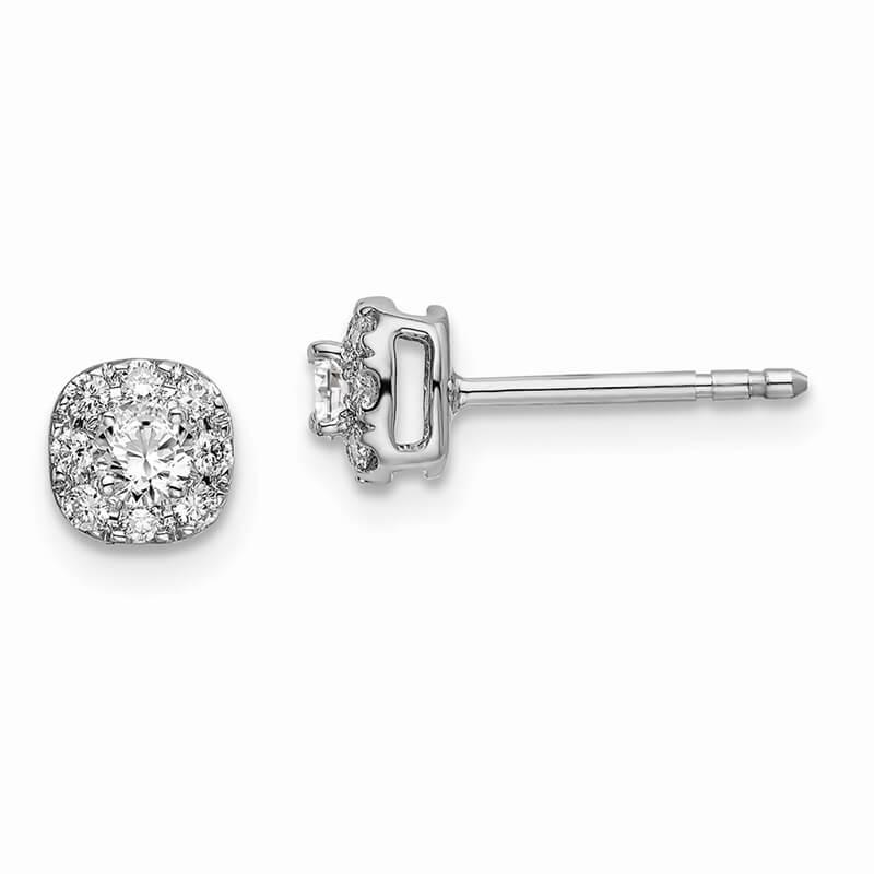 14kw Lab Grown Diamond SI1/SI2; G H I; Cushion Halo Earrings