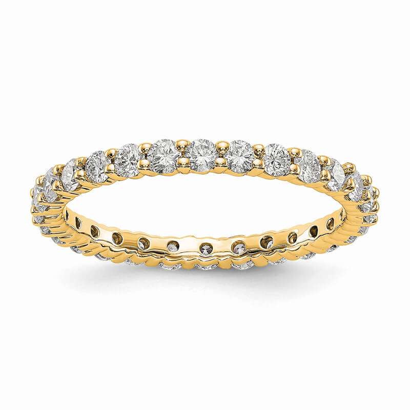 14ky Lab Grown Diamond SI1/SI2; G H I; shared Prong Eternity Band