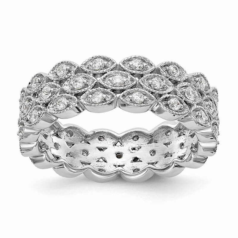 14kw 3 Row Marquise Shaped Lab Grown Diamond SI1/SI2; G H I; Eternity Band