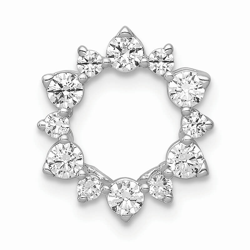 14kw Lab Grown Diamond SI1/SI2; G H I; Fancy Circle Chain Slide