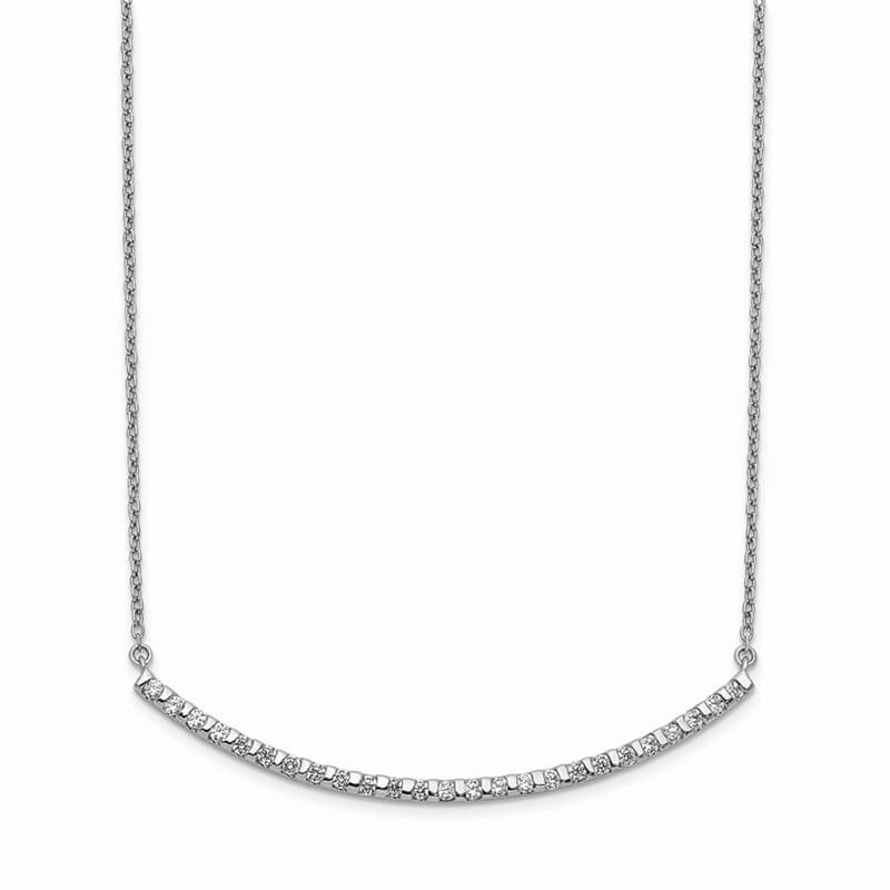 14kw Lab Grown Diamond SI1/SI2; G H I; Curved Bar Necklace