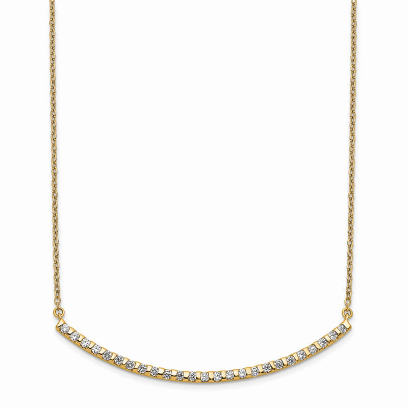 14ky Lab Grown Diamond SI1/SI2; G H I; Curved Bar Necklace