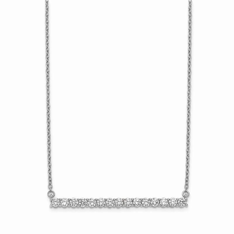 14kw Lab Grown Diamond SI1/SI2; G H I; Bar Necklace