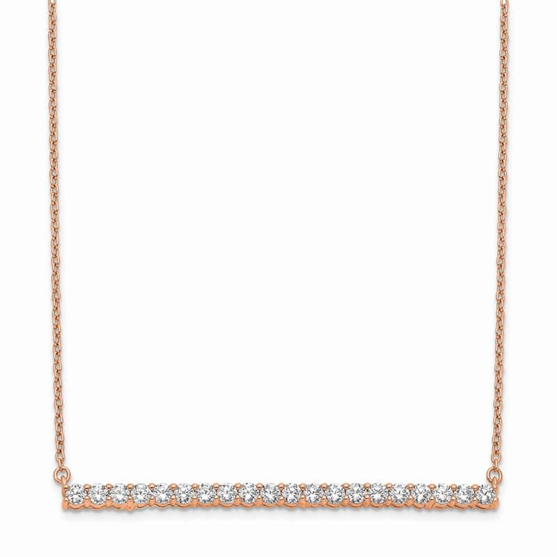 14kr Lab Grown Diamond SI1/SI2; G H I; Bar Necklace