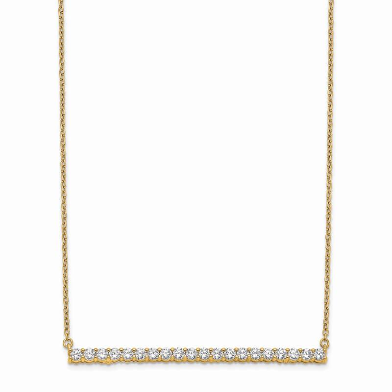 14ky Lab Grown Diamond SI1/SI2; G H I; Bar Necklace