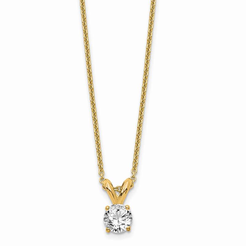 JCX1057: 14ky 1/4ct. Round Lab Grown Diamond VS/SI; D E F; Solitaire Necklace