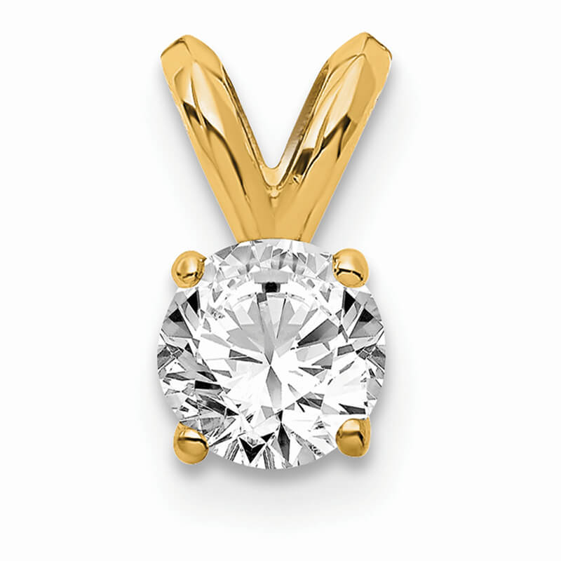 14ky 1/4ct. Round Certified Lab Grown Diamond VS/SI; D E F; Solitaire Pend