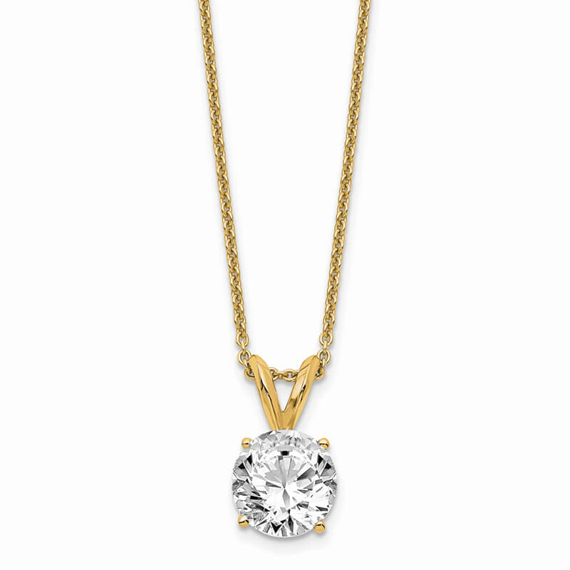 14ky 1.00ct. Round Lab Grown Diamond SI1/SI2; G H I; Solitaire Necklace