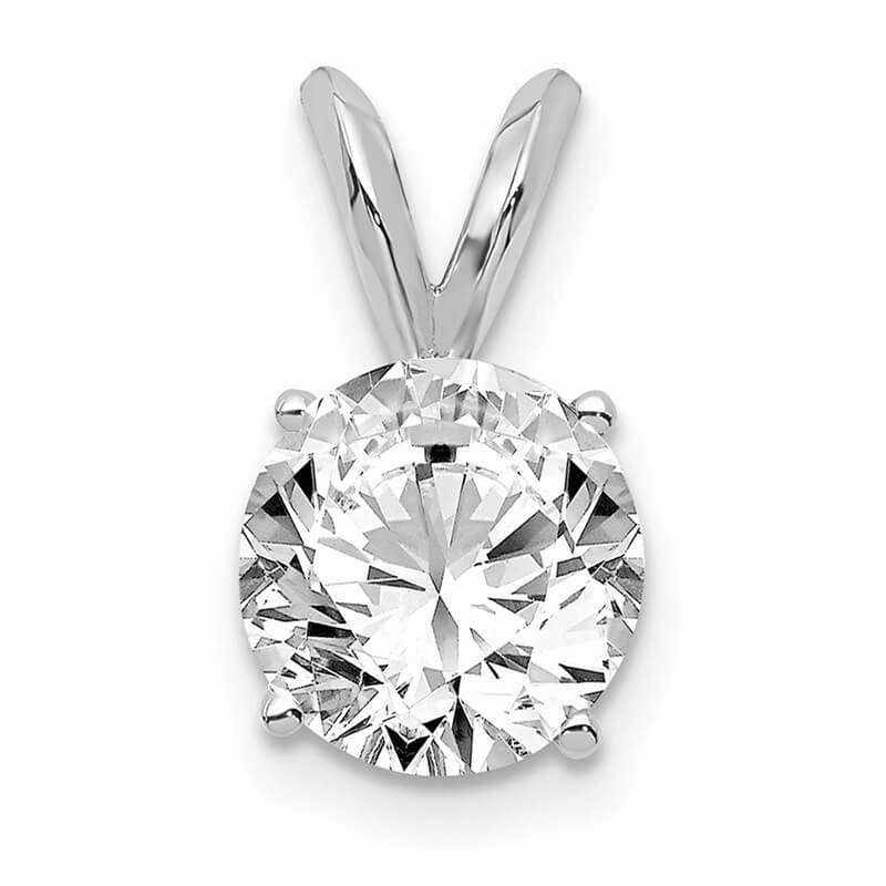 14kw 1.00ct. Round Lab Grown Diamond SI1/SI2; G H I; Solitaire Pendant