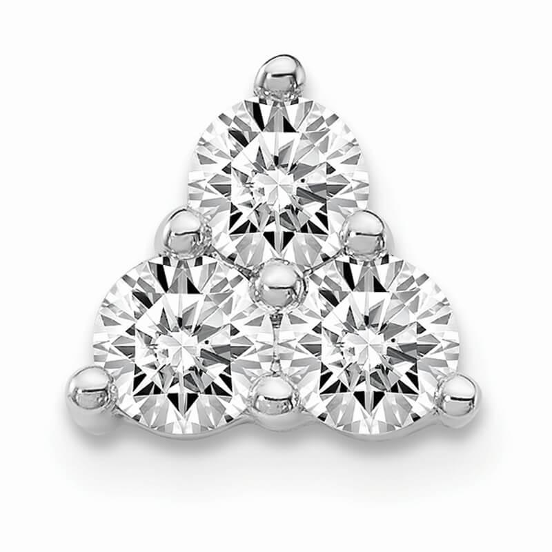 14kw Lab Grown Diamond SI1/SI2; G H I; 3-Stone Triangle Pendant