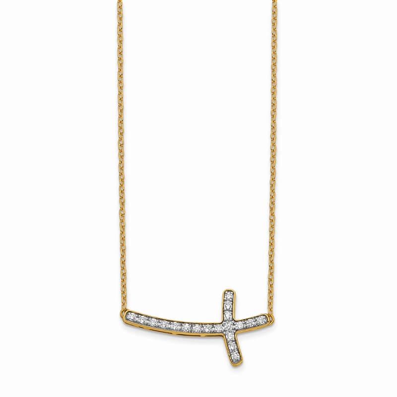 14K Lab Grown Diamond SI1/SI2; G H I; Sideways Cross 18in Necklace