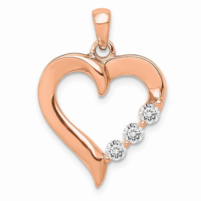 14K Rose Gold Three Stone Lab Grown Diamond SI1/SI2; G H I; Heart Pendant