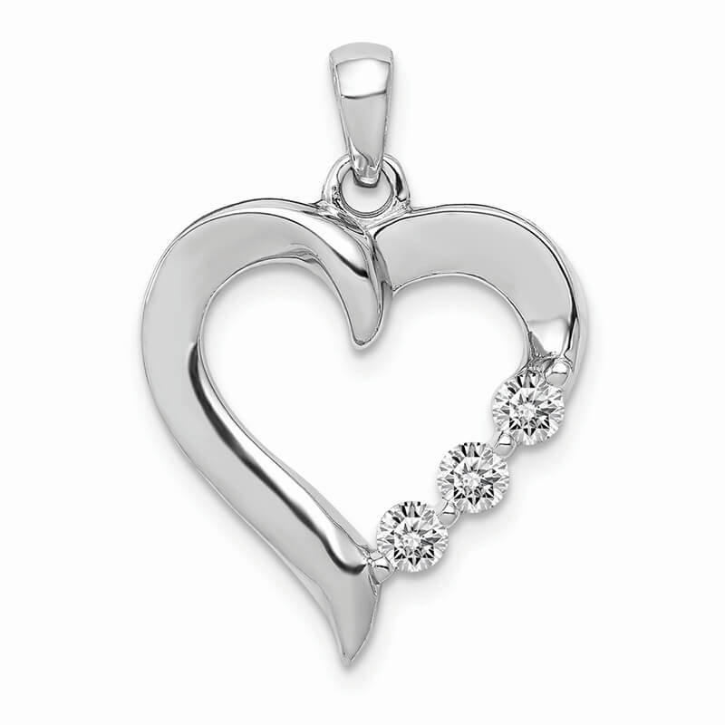 14kw Three Stone Lab Grown Diamond SI1/SI2; G H I; Heart Pendant