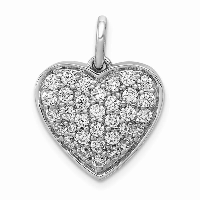 14kw Lab Grown Diamond SI1/SI2; G H I; Heart Pendant