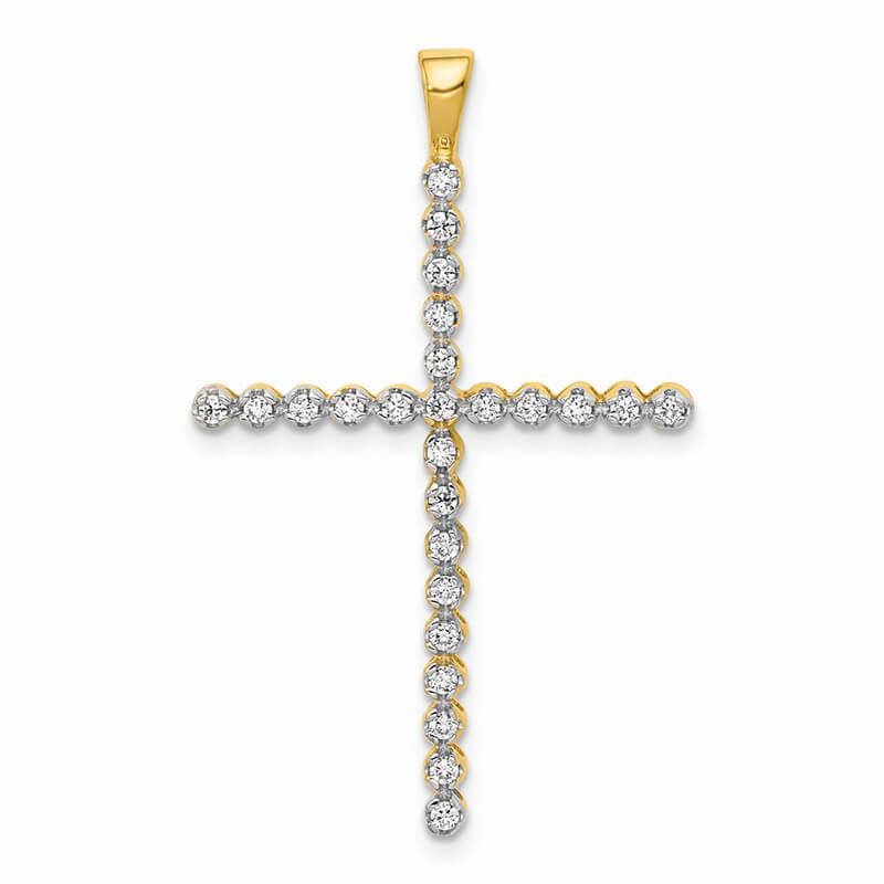 14ky & Rhodium Lab Grown Diamond SI1/SI2; G H I; Cross Pendant