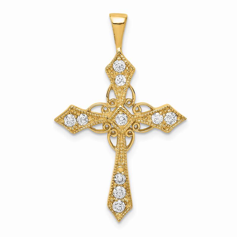 14ky Lab Grown Diamond SI1/SI2; G H I; Cross Pendant