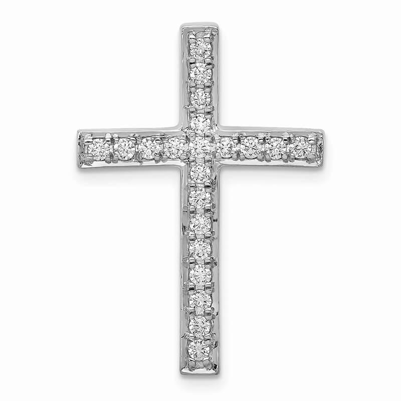 14kw Lab Grown Diamond SI1/SI2; G H I; Cross Chain Slide Pendant
