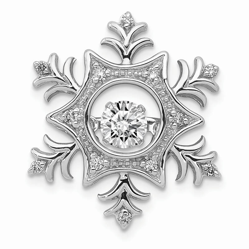 14kw Vibrant Lab Grown Diamond SI1/SI2; G H I; Snowflake Pendant