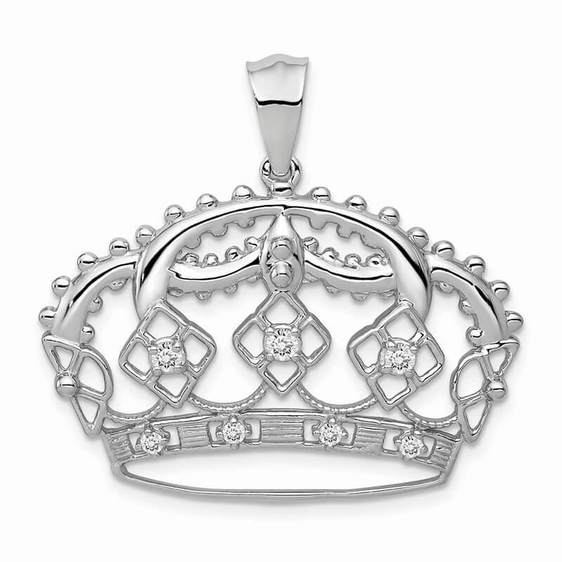 14kw Lab Grown Diamond SI1/SI2; G H I; Crown Pendant