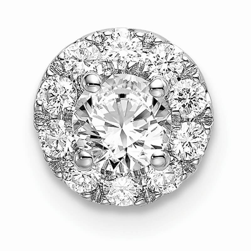 14kw Lab Grown Diamond SI1/SI2; G H I; Round Halo Pendant