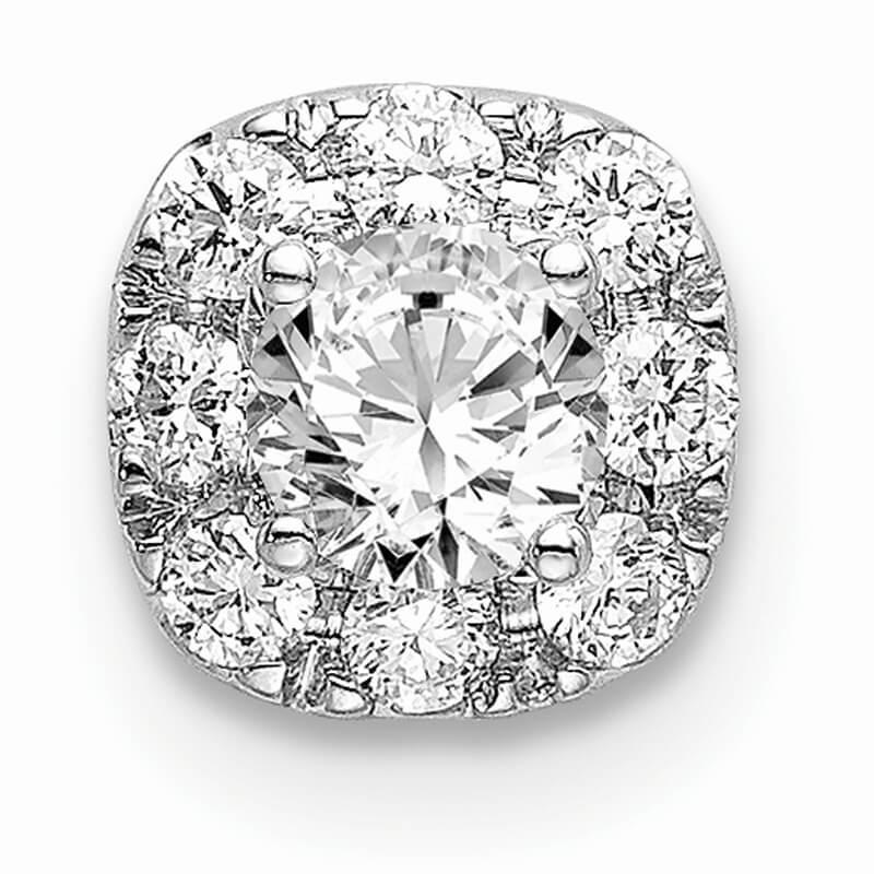 14kw Lab Grown Diamond SI1/SI2; G H I; Cushion Halo Pendant